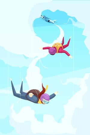 Cartel abstracto plano de aventura de deporte extremo de paracaidismo con participantes saltando desde la ilustración de vector de escenario de caída libre de avión Ilustración de vector