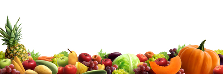 Fruits and vegetables stacked together in one  heap horizontal composition realistic vector illustration