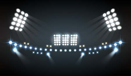 Stadium lights realistic composition with show and technology symbols vector illustration 일러스트