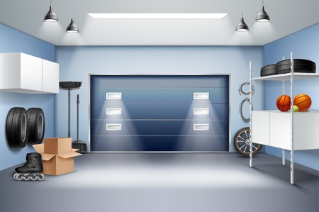 Modern spacious garage interior realistic composition with storage cabinets racks roller skates tires sliding door vector illustration  イラスト・ベクター素材