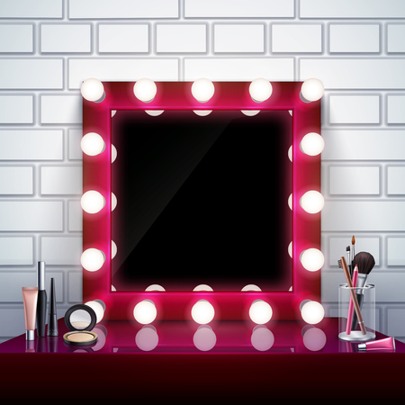 Realistic composition with pink makeup mirror cosmetics and brushes on table vector illustration Stock Illustratie