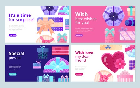 Presents gifts for every occasion packaging boxes best wishes stickers service concept 4 flat banners vector illustration