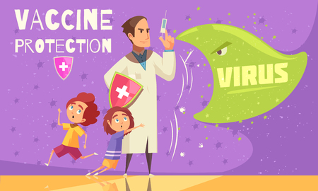 Kids vaccination against virus infections for effective disease prevention health care promotion cartoon ad poster vector illustration