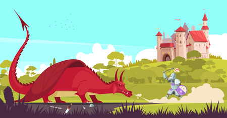 Medieval legendary knight warrior fighting fierce dragon near castle to save princess fair tale cartoon vector illustration Çizim