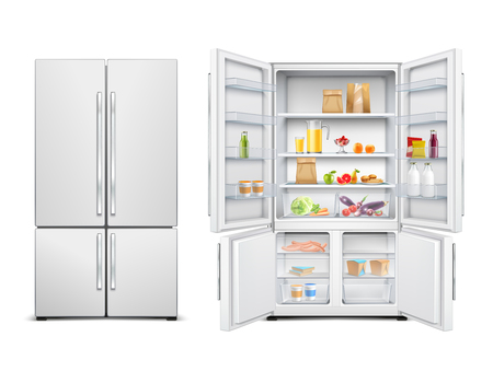 Refrigerator fridge realistic set of big family refrigerator with two doors filled with food products vector illustration