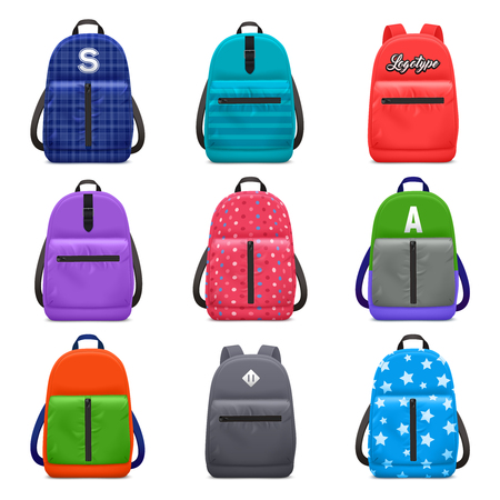 Realistic school backpack color pattern set with isolated images of children bags with modern textile patterns vector illustration