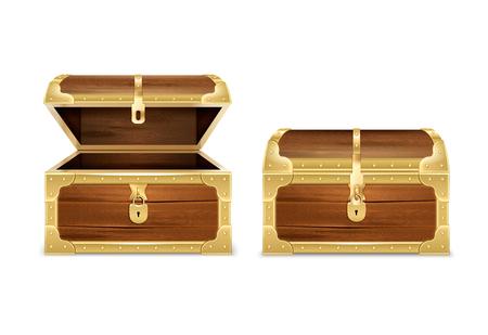 Realistyczny zestaw drewnianej klatki piersiowej z obrazami otwartych i zamkniętych pustych skarbców na pustym tle ilustracji wektorowych