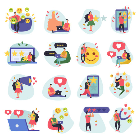 CRM customer relationship management flat icons collection of sixteen doodle images with human characters and symbols vector illustration Illustration