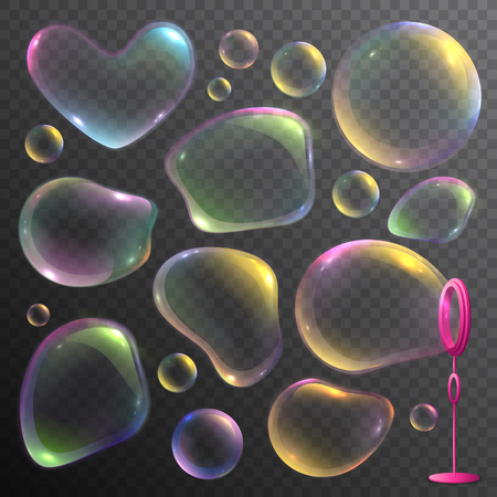 Realistic set of colorful deformed soap bubbles isolated on transparent background vector illustration