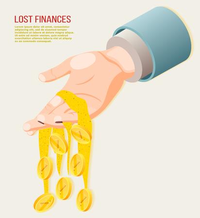 Concetto isometrico di finanze perse con monete che cadono dall'illustrazione vettoriale 3d della mano umana