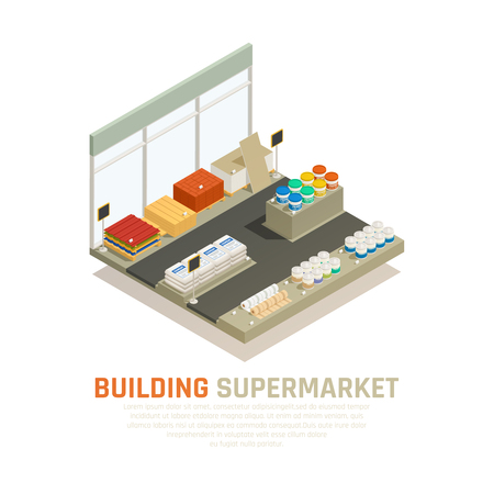 Composition of hardware store shop display and building supplies for sale