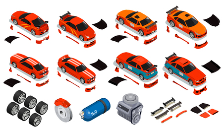 Car tuning isometric icons set of improving wheels rims tires nitrous oxide gas container unlocking engine body kit vector illustration
