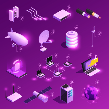Global network isometric glowing icons of equipment for internet technology