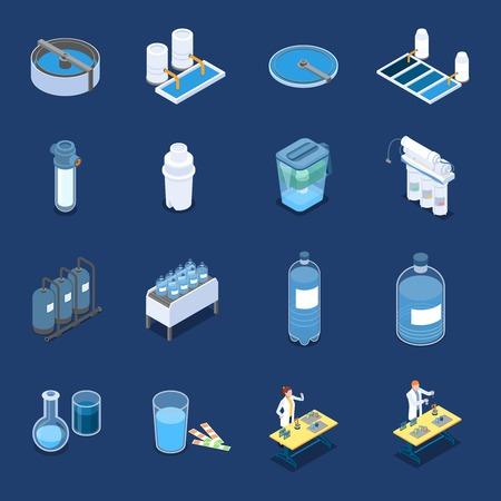 Icone isometriche dei sistemi di pulizia dell'acqua con apparecchiature di depurazione industriale e filtri domestici Vettoriali