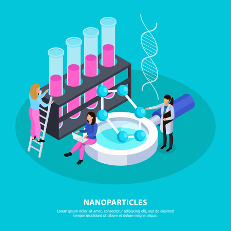 Scientists with computer and chemistry equipment during creation of nano particles