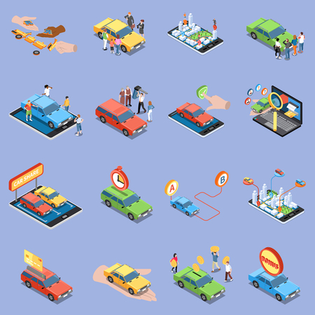 Carsharing icons set with carpooling symbols isometric isolated vector illustration