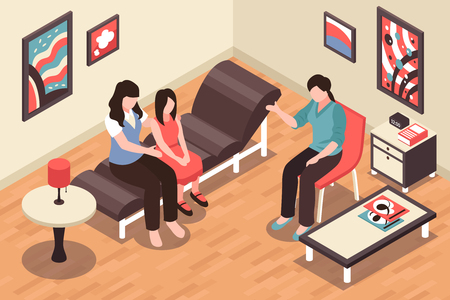 Family in depression feeling stress and sadness background isometric vector illustration