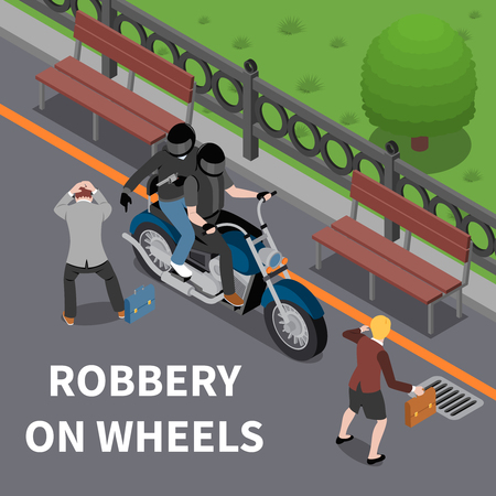 Robbery on wheels isometric composition with armed attackers on motor cycle during bag stealing