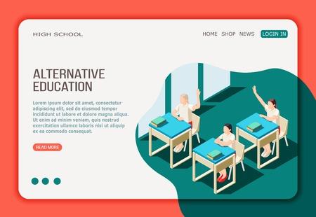 Page Web de destination isométrique de l'éducation alternative avec menu de boutons et filles en classe de lycée