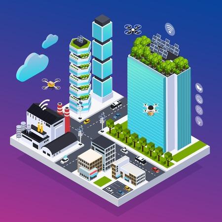 Composition de ville intelligente avec illustration vectorielle isométrique de symboles de technologie écologique