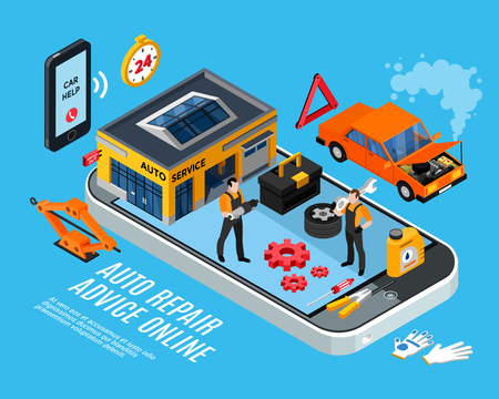 Auto repair online advice isometric concept with spare parts symbols Stockfoto - 110828837