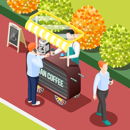 Isometric background with street coffee trailer 3d vector illustration