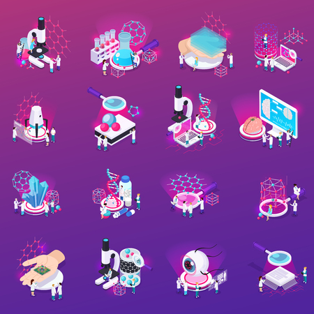 Nanotechnology isometric icons set if laboratory equipment