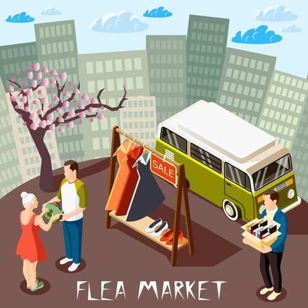 Personas que eligen productos en el mercado de pulgas en la ilustración de vector 3d de composición isométrica de fondo de paisaje urbano