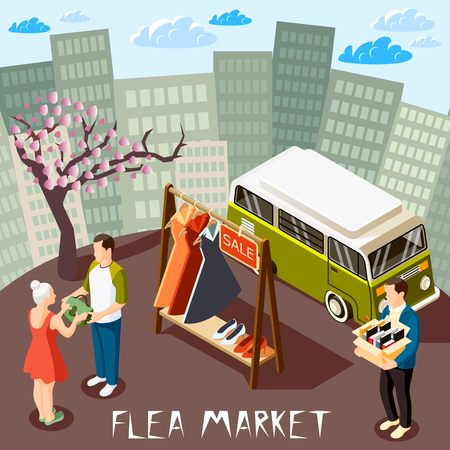People choosing goods at flea market on cityscape background isometric composition 3d vector illustration