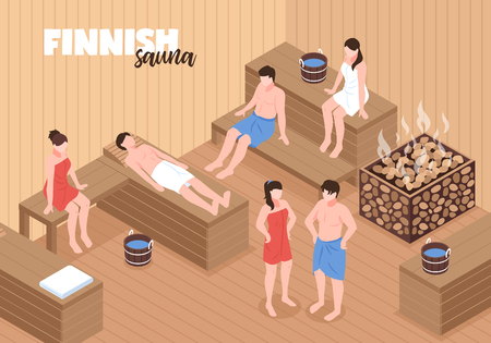 Finnish sauna with men and women on wooden benches and heater with stones Ilustração