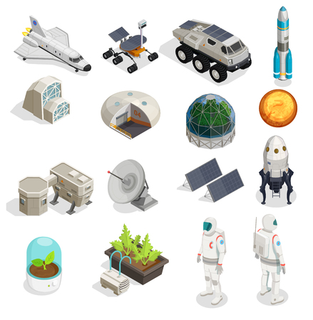Mars colonization isometric set of astronauts in spacesuits explorer space