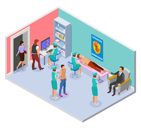 Vaccination isometric composition with view of hospital room with interior elements and medical workers administering injections vector illustration