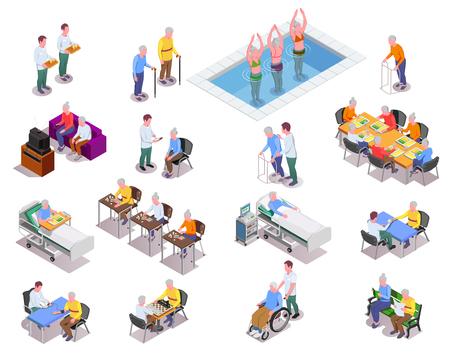 Iconos isométricos de hogares de ancianos con personal que monitorea pacientes
