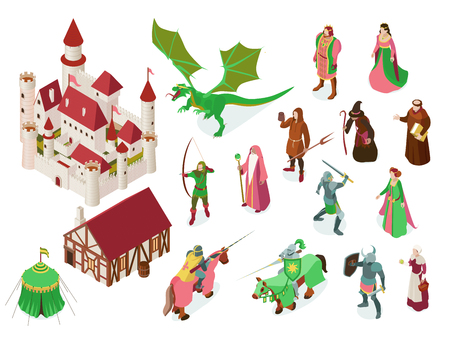 Medieval fairy tale isometric set with royal castle knights
