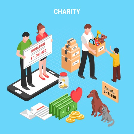 Charity isometric composition with people actions for support animals shelter