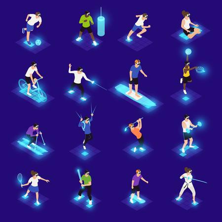 Personajes humanos en gafas vr durante diversas actividades deportivas.