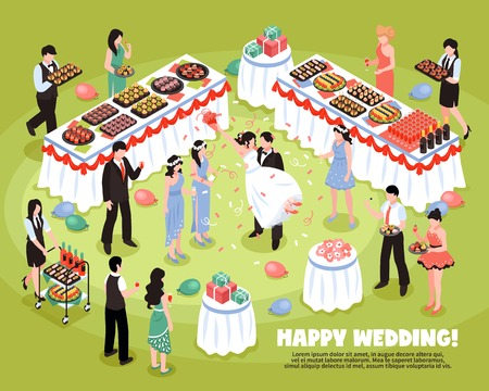 Isometric banquet wedding background composition with editable text description and characters of party guests and waitstaff vector illustration