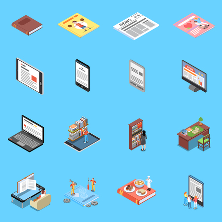 Reading and library icons set with modern technology symbols isometric isolated vector illustration Illustration
