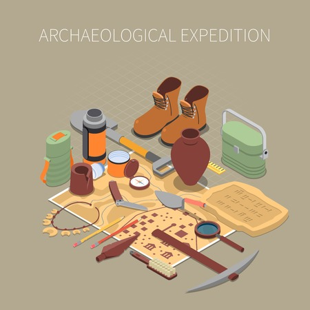 Archaeological expedition concept with ancient remains and artifacts symbols Ilustração