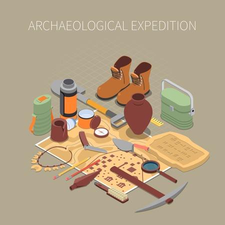 Concetto di spedizione archeologica con resti antichi e simboli di manufatti Vettoriali