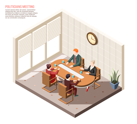 Politicians during conversation at meeting in conference room isometric composition vector illustration Çizim