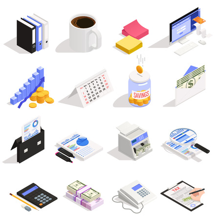 Accounting set of isometric icons with money savings online banking tax calculation and documentation