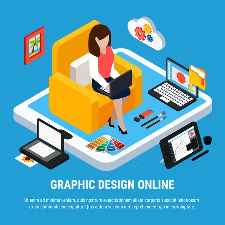 Graphic design isometric concept with woman working on computer on blue background 3d vector illustration Illustration