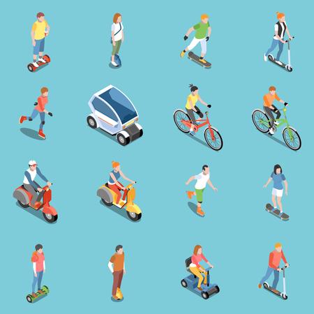 Icônes de transport écologique personnel sertie d'illustration vectorielle isométrique isolée de bicyclette et de scooter