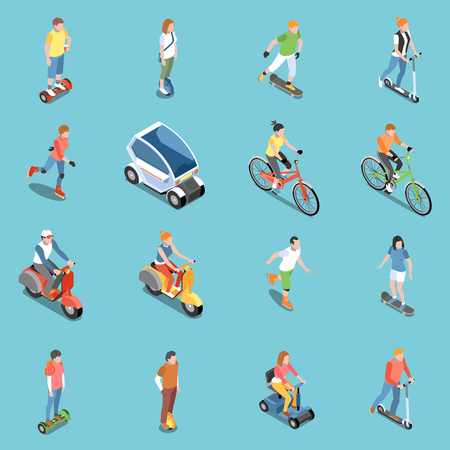 Personal eco transportation icons set with bicycle and scooter isometric isolated vector illustration Illustration
