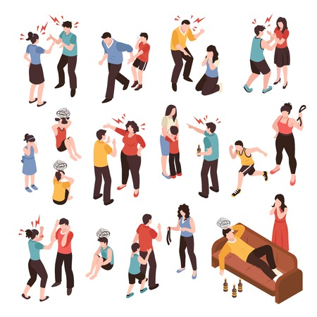 Family conflicts set with shouting and crying isometric isolated vector illustration Banque d'images - 128160583