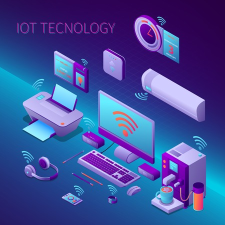 Iot technology isometric composition with office equipment and electronic personal gadgets on gradient background vector illustration