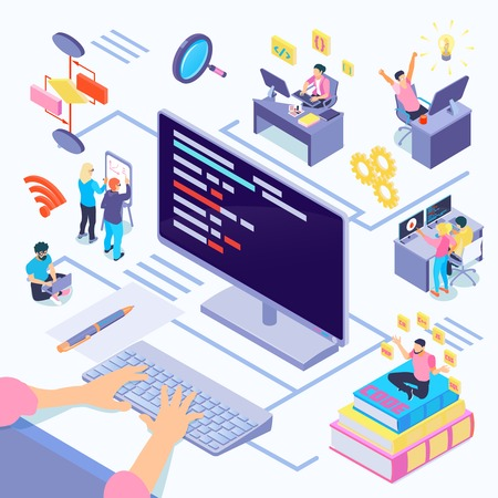 Software developers during coding composition with creative decisions algorithmic complexity documentation by programming languages isometric vector illustration Ilustração