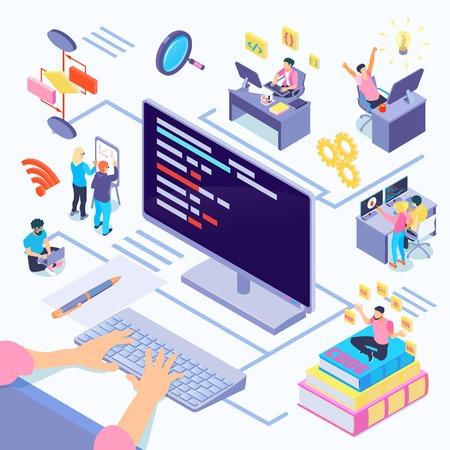 Sviluppatori di software durante la composizione della codifica con la documentazione della complessità algoritmica delle decisioni creative programmando l'illustrazione vettoriale isometrica dei linguaggi