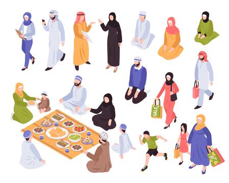 Famille arabe sertie de symboles traditionnels de nourriture et de shopping Vecteurs
